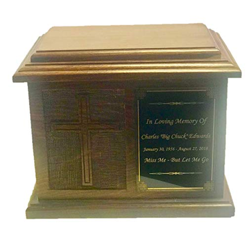 NWA Cross Urn for Human Ashes, Adult Size Hard Wood Hand Carved Human Cremation Urn - Custom Engraved