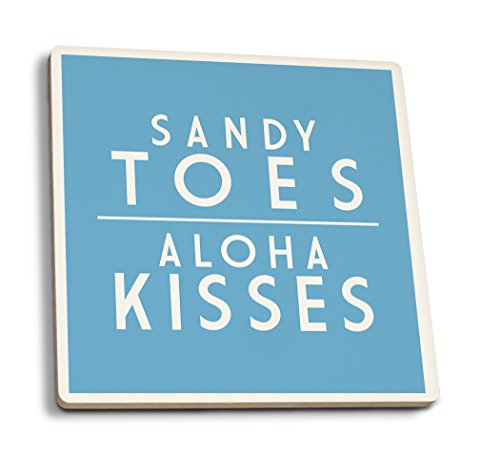 Lantern Press Sandy Toes, Aloha Kisses - Simply Said (Set of 4 Ceramic Coasters - Cork-Backed, Absorbent)