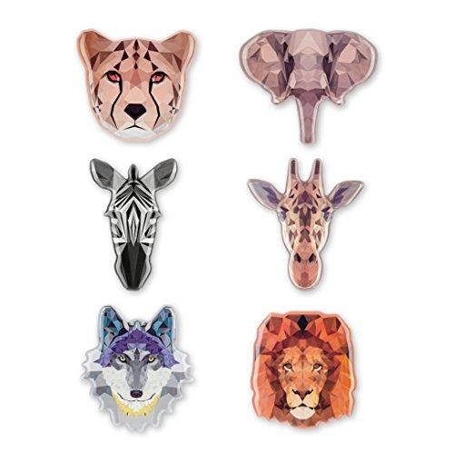 Morcart Refrigerator Magnets Cartoon Animals Magnets (6pcs) Cheetah Elephant Zebra Giraffe Wol Lion 3D Pattern Decoration Kitchen Office Coffee Shop Locker Menu MessageBoard Holiday Gifts ()