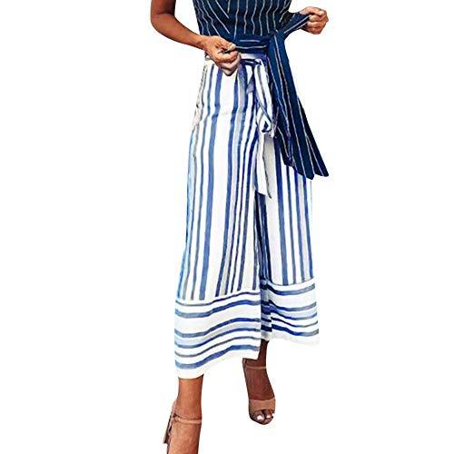 - 2018 Palazzo Pants,Casual Striped Printed Wide Leg Waistband High Waist Trousers by-NEWONESUN