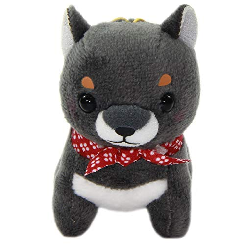 - Amuse Shiba Dog Plush Doll Stuffed Animal Keychain Mamejiro Rubber Strap Size Black