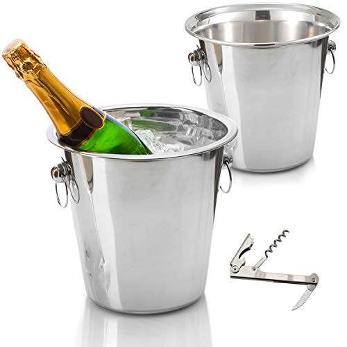 Tiger Chef Wine Bucket Set - Champagne Bucket - Beverage Tub: Includes Two 4 Quart Stainless Steel Buckets and Bonus Corkscrew