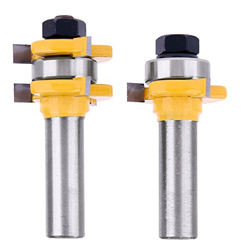 "Yakamoz 1/2 Inch Shank Tongue and Groove Router Bit Set 3/4"" Stock 3 Teeth T Shape Wood Milling Cutter Woodworking Tool"