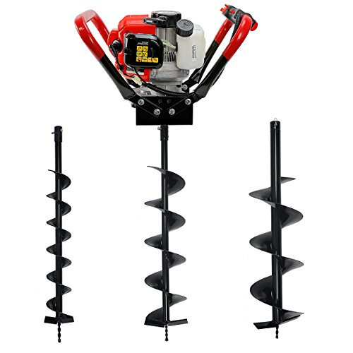 V-Type 55CC 2 Stroke Gas Posthole Digger One Man Auger (Digger + 4'' 6'' 8''Bits) by XtremepowerUS