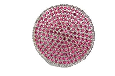 TFJ Women Fashion Belt Buckle Silver Metal Pink Rhinestones Round Shape