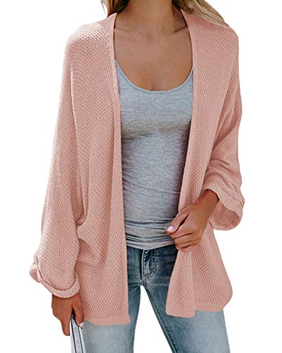 Couleur Femme Manche ShallGood Unie Rose V Pull Sweaters Col Casual Veste Tricot Automne Ample Chaud Cardigans Longue Cardigan Chic Chandail Cardigans Hiver w7qOI1rqd