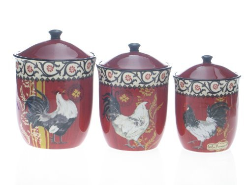 (Certified International La Provence Rooster Canister Set, 3-Piece Home Supply Maintenance Store)
