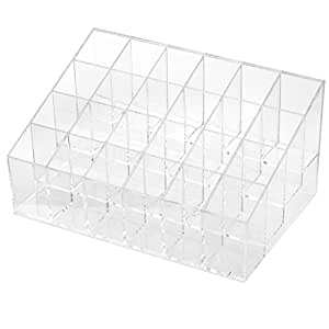 Wowlife Acrylic Trapezoid Clear Cosmetic Stand 24 Lipstick Organizer Nail Polish Makeup Case Display Rack Holder