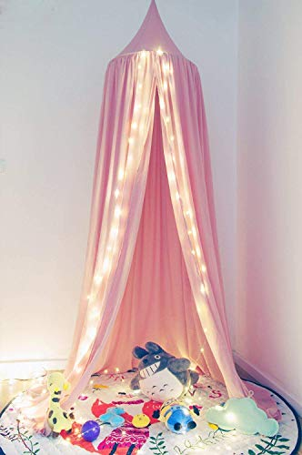 Wilhunter Kids Bed Canopy Princess Castle Mosquito Netting Girls Bed Curtains Hanging Round Dome Tent Childrens Reading Nook Indoor Outdoor Games Cotton Canvas Pink (Pink)