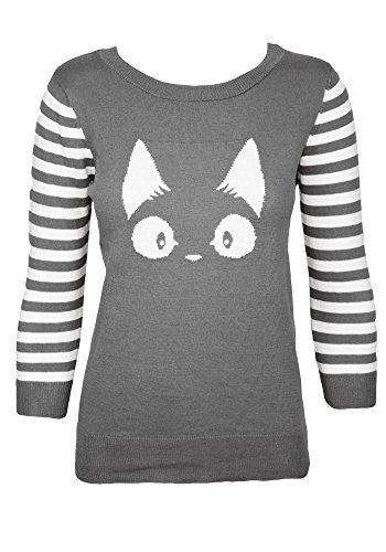 Sidecca Cat Face Striped Sleeve Pullover Knit Sweater (Small, Grey) Striped Cat Face