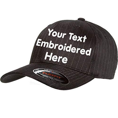 Custom Hat Flexfit 6195P Pinstripe Cap. Embroidered. Your Own Text Curved Bill (Flexfit Pinstripe 6159P L/XL, Dark Grey/White ()