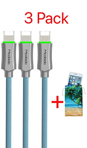 (3 Pack + iPhone Bag) Upgraded Power Off Smart LED Auto Disconnect Nylon Braided Sync Charge USB Data 4FT/1.2M Cable Compatible iPhone/iPad Pro/Air,iPad Mini,iPod (Blue 3 Pack, 4FT)