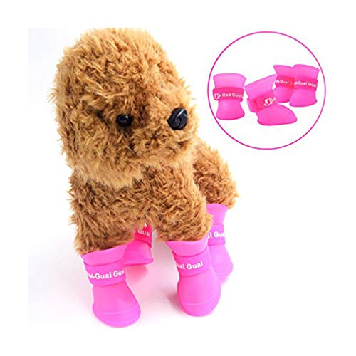 STAR-TOP Portable Little Pet Dog Puppy Rain Boots Candy Colors Snow Waterproof Rubber Shoes Booties