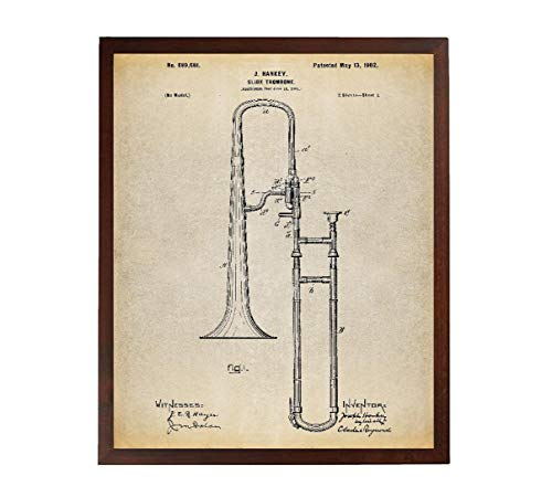 Turnip Designs Slide Trombone Patent Poster Art Print Music Room Decor Band Director Jazz Art Trombone Art TNP52