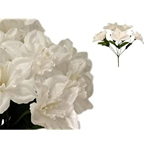 Tableclothsfactory 72 Artificial Daffodil Flowers for Wedding Arrangements - 12 Bushes - White 24