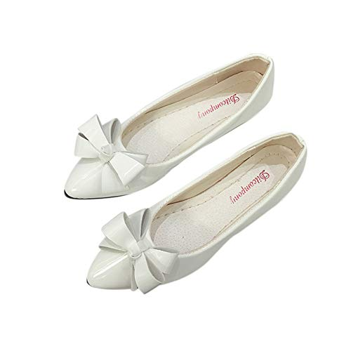 Women Ballet Flats Pointy Toe Patent Leather Walking Shoes Comfort Shoes by Lowprofile White ()