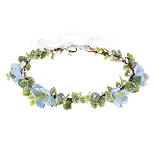 Love Sweety Succulent Flower Crown Eucalyptus Halo Wedding Floral Headband Photo Prop (W-Blue Sakura)