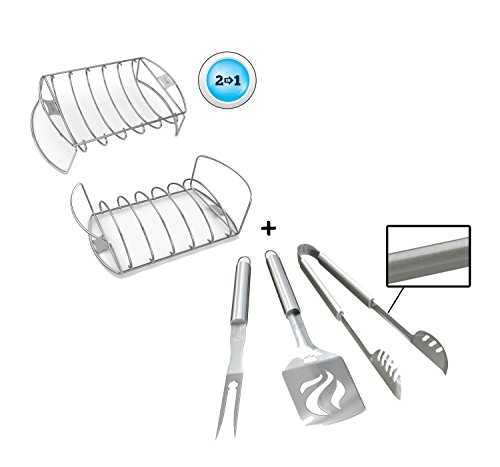 Rib Roast Rack + BBQ Grill Tools Set - HEAVY DUTY 20% THICKER STAINLESS STEEL - Professional Grade Barbecue Accessories - 3 Piece Utensils Kit Includes Spatula Tongs & Fork - Unique Gift Idea For Dad (That So Raven Dvd Box Set)