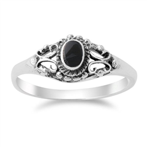(Filigree Swirl Design Oval Simulated Black Onyx Solid 925 Sterling Silver Promise Wedding Ring 4-9)