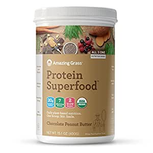 Amazing Grass Organic Plant Based Vegan Protein Superfood Powder, Flavor: Chocolate Peanut Butter, 10 Servings, 15.1oz, Meal Replacement Shake