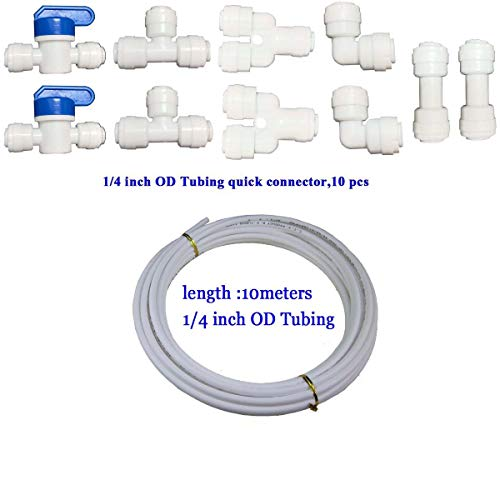 "YZM 10 pcs 1/4"" Quick Connect Push In to Connect Water Purifiers Tube Fittings for RO Water Reverse Osmosis System+10 meters(32 feet) tubing hose pipe (1/4 white tubing 10meters + connector 10pcs)"