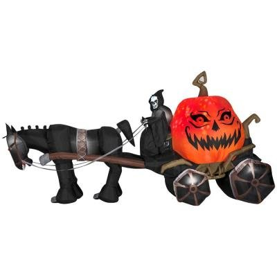 Halloween Giant Projection Inflatable Haunted Carriage with Grim Reaper with Sound Fire and Ice 14 ft. W