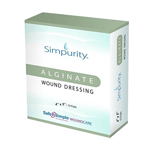 Simpurity Alginate Wound Dressing, 4 Inch x 5 Inch, 10 Count Calcium Alginate Wound Care