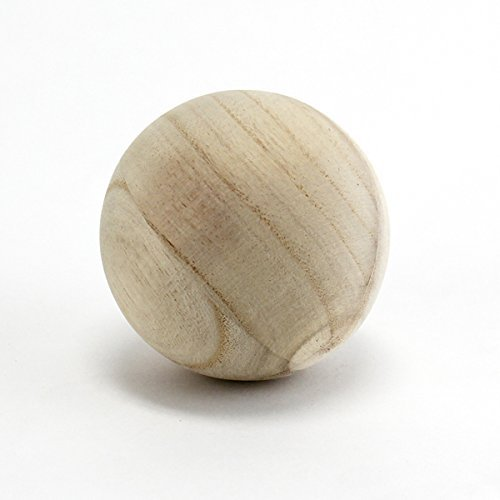 CYS EXCEL Natural Round Wood Ball, Round Wood Unfinished for DIY Jewelry Making, Wood Craft Balls for Art Design, 4 Inch Dimension, Pack of 2