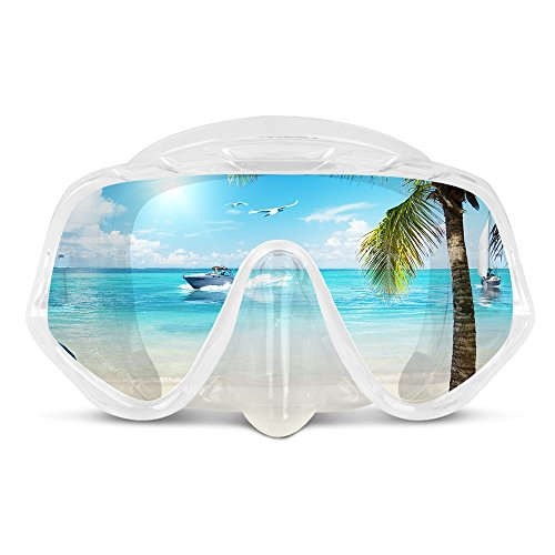 COPOZZ Scuba Mask, Snorkeling Dive Glasses, Free Diving Tempered Glass Goggles - Optional Dry Snorkel with Comfortable Mouthpiece Easy Clear Nose Purge Mask