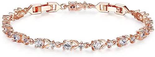 JK Luxury Rose Gold Color Chain Link Bracelet for Women Ladies Shining AAA Cubic Zircon Crystal Jewelry JIB013,GOLD