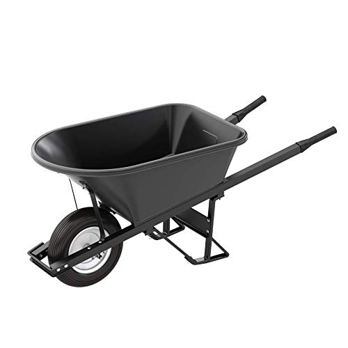 Bon 28 908 Premium Contractor Grade Poly-Tray Single Wheel Wheelbarrow with Steel Handle and Ribbed Tire, 5-3/4 Cubic - Tray Wheelbarrow Contractor