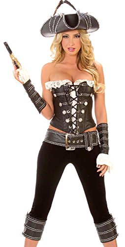 Booty Gal Women's Sexy Role Play Cosplay Pirate Captain Costume Set For Hallowmas ()