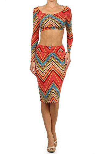 SurelyMine Womens Cropped Fitted Top And Matching High Waist Skirt Set Medium Coral
