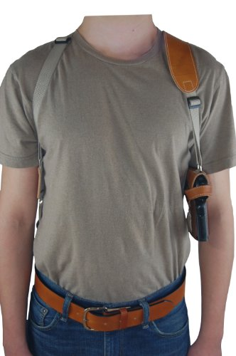 Barsony Horizontal Saddle Tan Leather Shoulder Holster for Full Size 9mm 40 45 by Barsony Holsters and Belts
