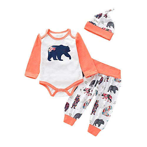 TEVEQ Infant Baby Boys&Girls Cartoon Bear Print Romper Bodysuit+Pants+Hat Outfits White