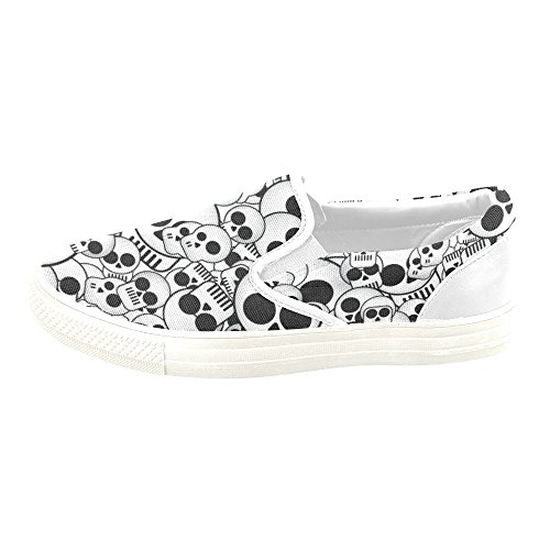 D-Story Custom Sneaker Skull Women Unusual Slip-On Canvas Shoes BJfwbCahYy