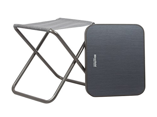 Westfield Home & Garden Kobold 2-in-1 Foldable Stool with Detachable Table Top - Grey, 48 x 42 x 47 cm (Uk Pool Loungers)