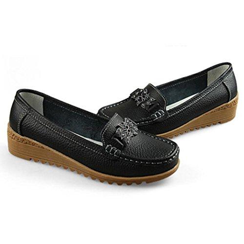 Femmes Mocassins En Cuir Oxford Glisser Sur Les Appartements De Marche Chaussures De Bateau Anti-dérapant Noir