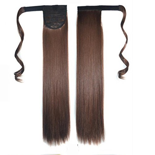 Vibola Real New Clip In Human Hair Extension Straight Pony Tail Wrap Around Ponytail Straps Wigs (Brown (Sexy Ponytails)