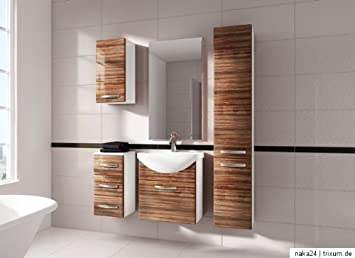 Zebrano Wood Bathroom Furniture Set High Gloss Bathroom Furniture