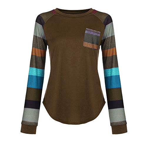 Forthery Women Blouse Casual Stripe Long Sleeve Pullover Tunic Tops Shirts(Grey,US Size M = Tag L) by Forthery (Image #2)
