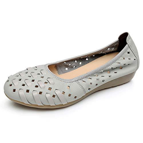 señoras Maternidad Zapatos FLYRCX Solos Cuero gray Fondo Zapatos Sandalias Suave de Planos de Zapatos Huecos Comodidad de Trabajo de Zapatos Casual de RvCRZwq