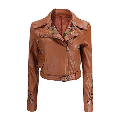 LOVELYOU Cuir Biker Moto Zipper Manteau Femmes,Rivet Fermeture  GlissiRe Veste Mode Sexy Blousons Manches Longues Jacket Courtes Parka Overcoat Outwear Marron1
