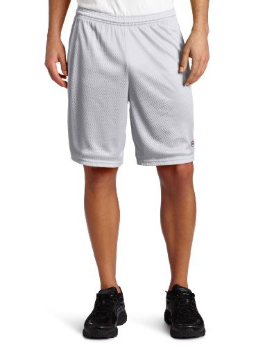 Pack Mens Basketball (Champion Men's Long Mesh Short With Pockets,Athletic Gray,Medium)