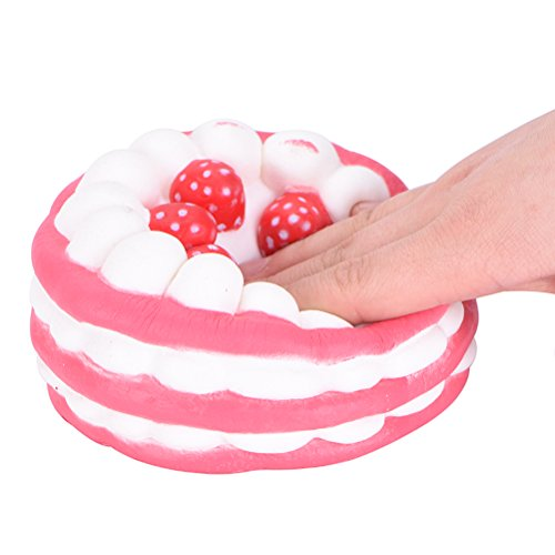 IYSHOUGONG 1 Pcs Jumbo Red Squishy Cute Strawberry Cake Super Slow Rising Bread Toy Photo Props Home Decoration