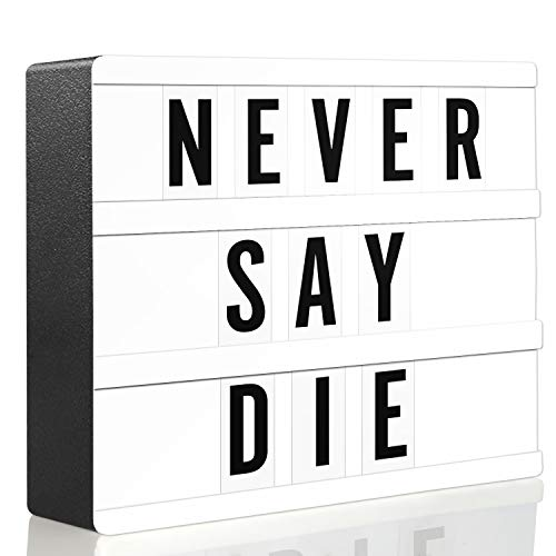 Novelty Place Letter Lightbox - Cinematic LED Marquee Light Box with 80 Black Bold Characters - Letters Numbers Emojis for DIY Birthday Wedding Anniversary Party Mottoes Home Decor - White A5 Size -