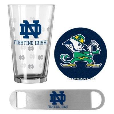 NCAA Notre Dame Pint Glass, Bottle Opener & Coasters Set | Notre Dame Irish Game Day Gift Set