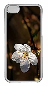iPhone 5C Case, Personalized Custom White Cherry Blossoms 2 for iPhone 5C PC Clear Case