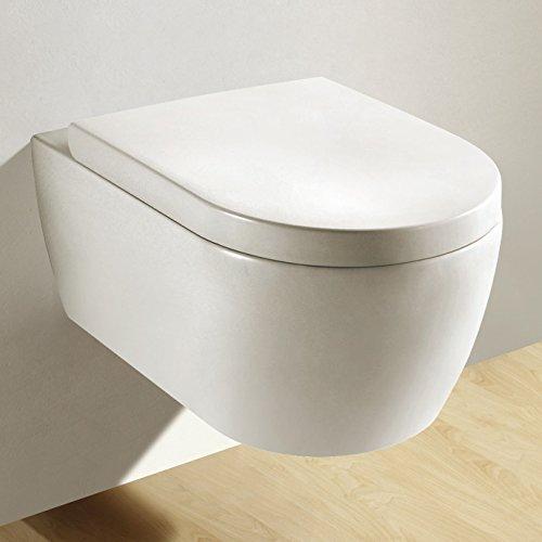 NEG Hänge-WC Uno11 (Tiefspüler) Toilette mit geschlossenem Unterspülrand, Duroplast Soft-Close-Deckel und Nano-Beschichtung