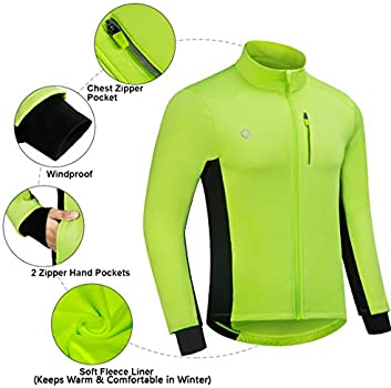 Mens Cycling Jacket Waterproof Winter Thermal Softshell Running Breathable Windproof Reflective Biking Reflective Coat Long Sleeve Bicycle Jersey